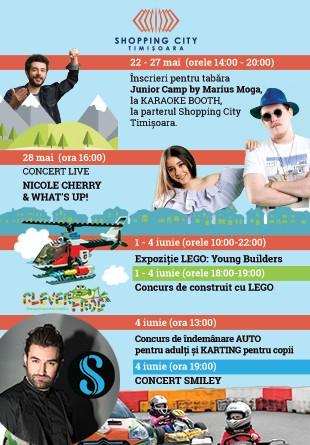 Smiley, Nicole Cherry & What's Up, LEGO, karting… La Shopping City Timișoara, te așteaptă 2 săptămâni de joacă, muzică & fun!